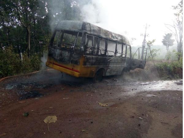 School Bus Catch Fire In Sullia