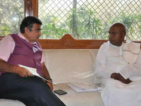 Hd Deve Gowda Meets Central Water Resource Minister Nitin Gadkari