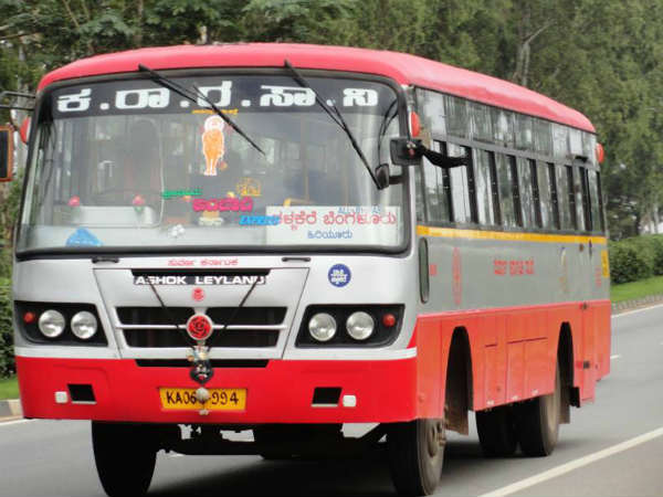 Different protest in Nelamangala to stop over the KSRTC buses