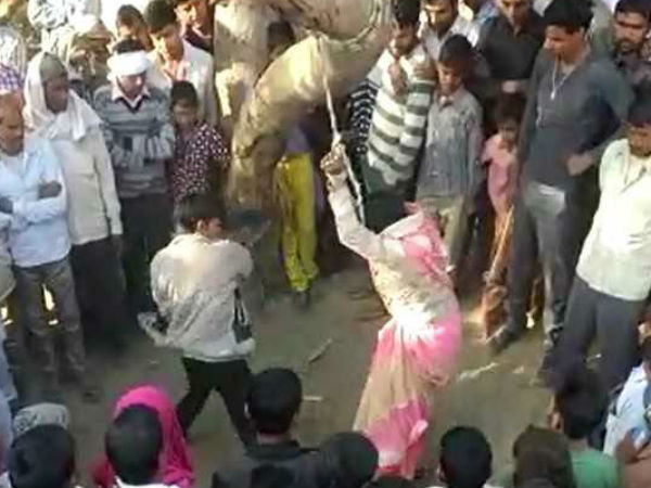 Woman tied to tree, beaten by husband publically in UP