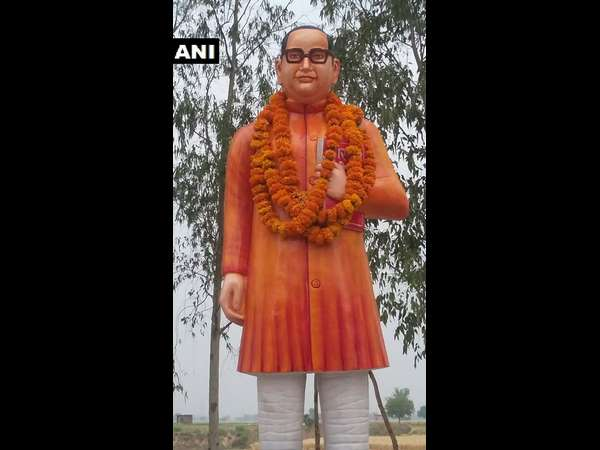 Statue of ambedkar locked inside cage