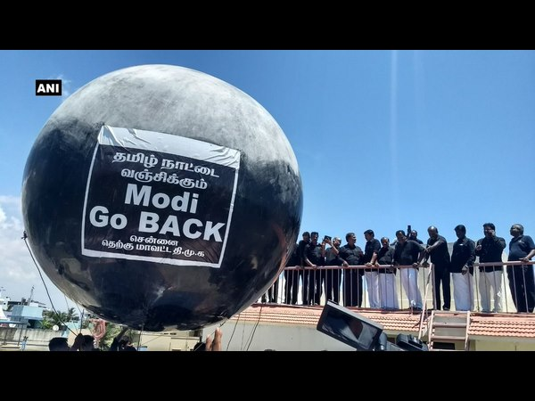 Instead of Lathi police took Pin to bust Go Back Modi balloons