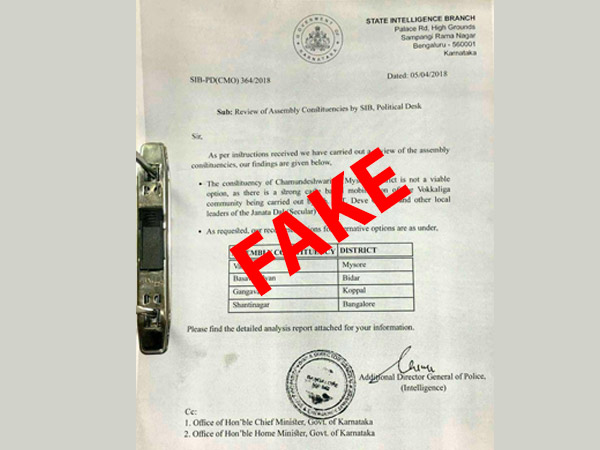 Inteligence report about Chamundeshwari constituency is fake