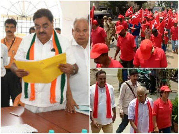 Congress And Cpim Candidates Filed Nomination In Dakshina Kannada