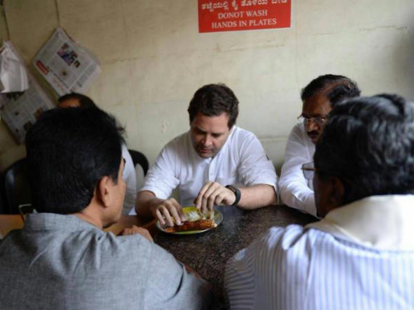 Rahul Gandhi Tastes Benne Dose At Davanagere