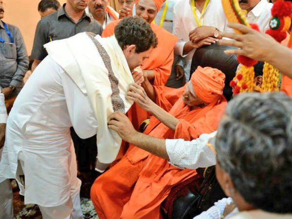 Rahul Gandhi visits Siddaganga mutt for the first time