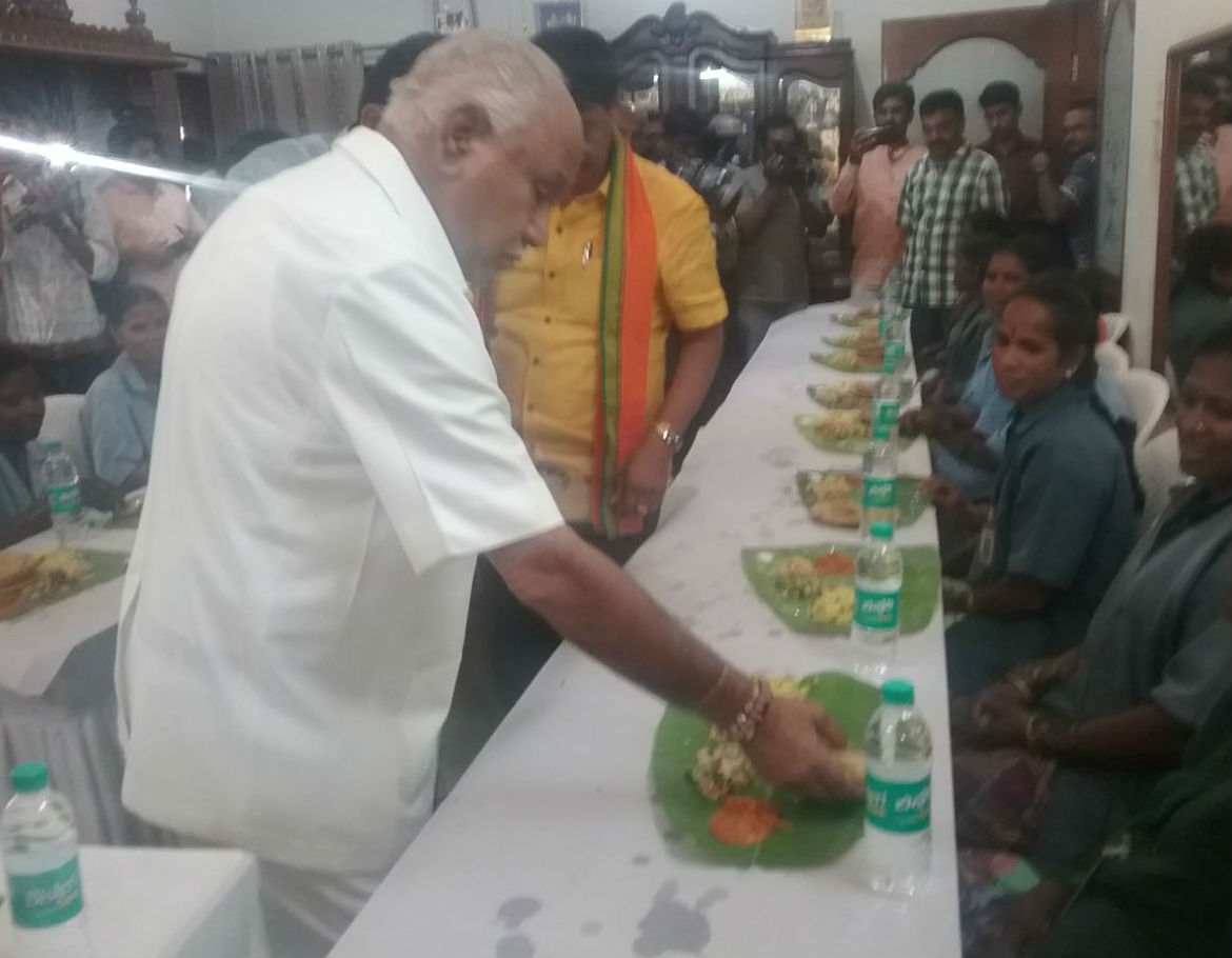 Yeddyurappa invites Pourakarmikas for lunch at Dollars colony