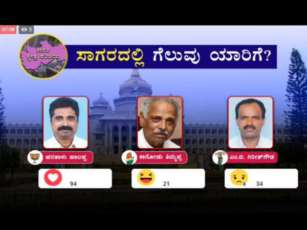 Oneindia Fb Poll Elections 2018 : Haratalu Halappa to win in Sagara, Shivamogga