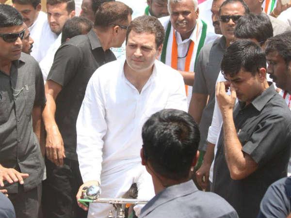 Karnataka Elections Rahul Gandhi Rides Bicycle In Kolar