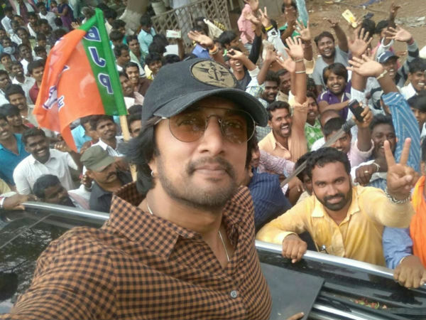 Sudeep returns without campaigning for Sriramulu