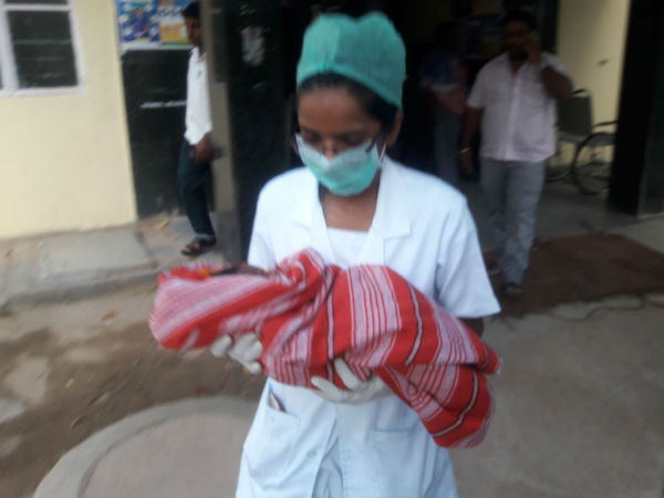 Four-day-old baby was found near the Gowramma Lake in Magadi town.
