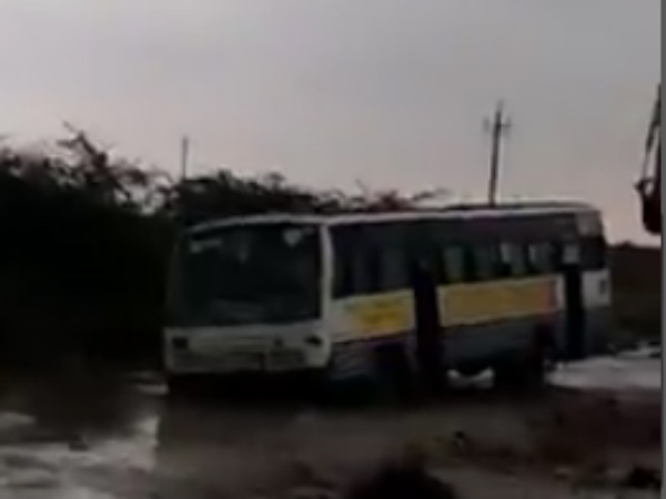 Heavy Rain in Belagavi, Govt Bus stranded in bridge