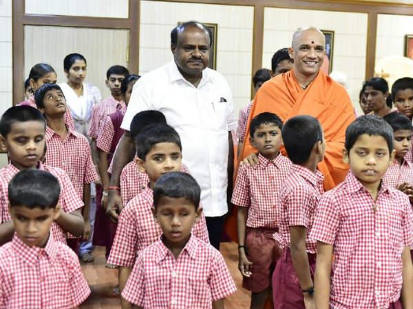 Kumaraswamy Visited Sri Balagangadharanatha Swamijis Residential Blind School