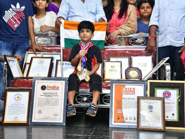 Five-year-old boy has shine in five major Book of Records.