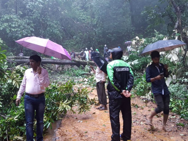 jogina mata road land collapsed on Wednesday