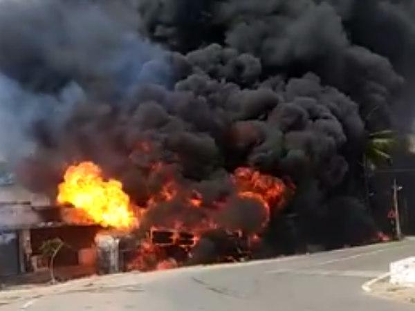 Diesel Tanker Overturns In Kadur Chikkamagaluru