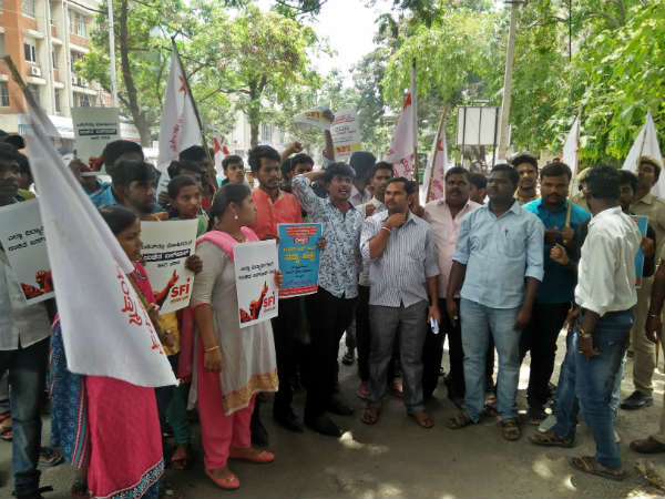 SFI protest for Free Bus pass for Students