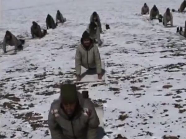 Viral Video Soldiers Perform Yoga In Ladhakh