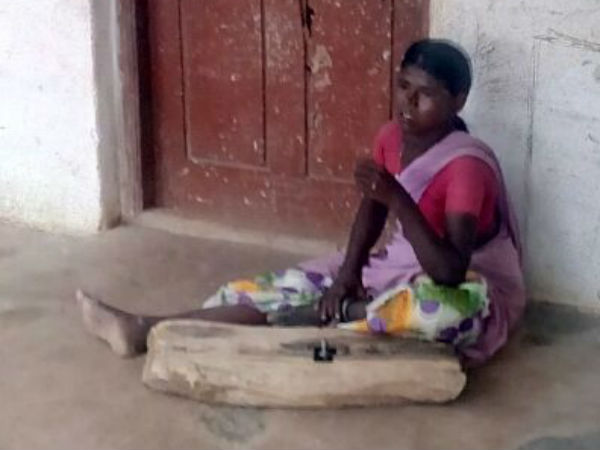 Woman has been arrested by the iron chain for 12 years in konuru village