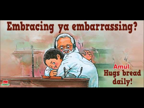 Monsoon session: Hug and wink cartoon by Amul