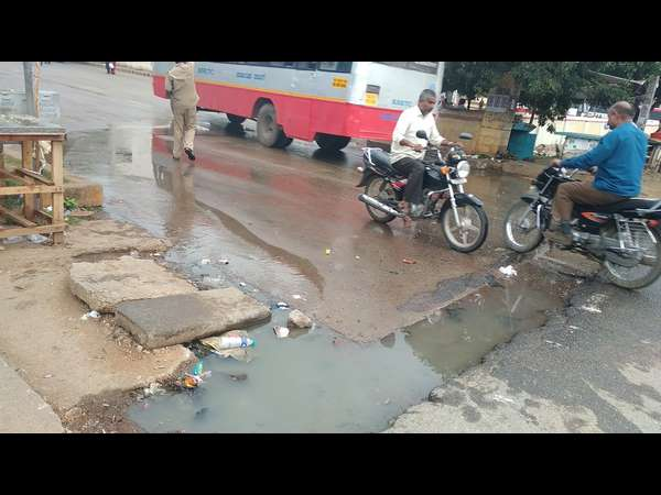 Chamarajanagar Unscientifically Built Bus Stop Gundlupet Looks Like A Lake In Every Rainy Season