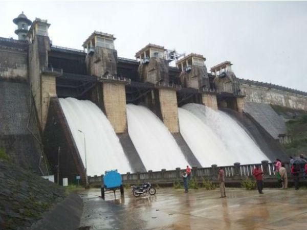 Harangi Reservoir Full Crest Gates Opened