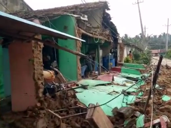 The wall of two houses collapsed in Tarikere town.