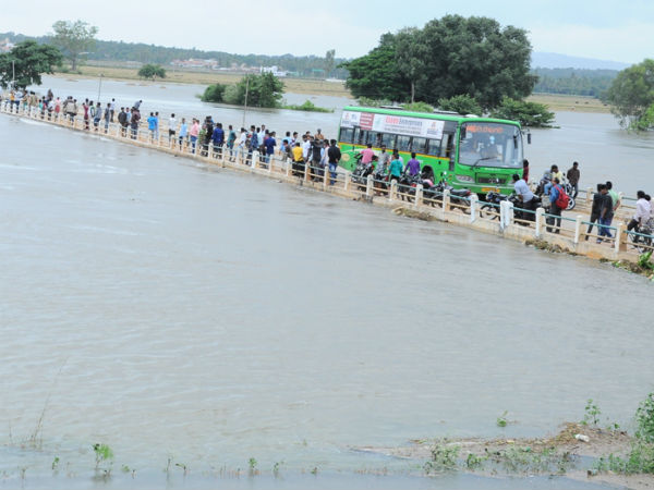 Kapila River overflowing above danger mark
