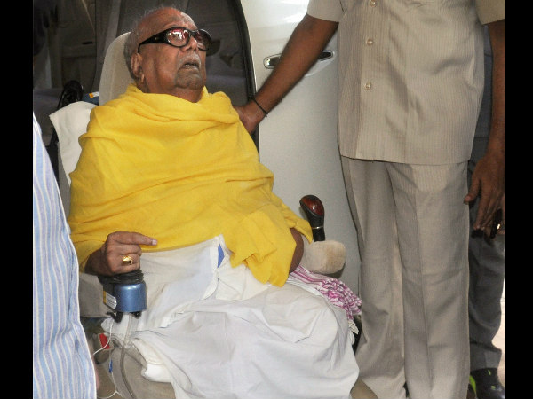 karunanidhi health slight decline treated at residency