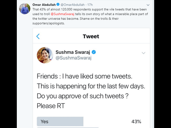 Shame on trolls and their supporters: Omar Abdullah comes out to support Sushma