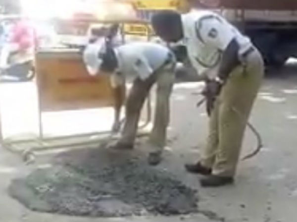Traffic police have closed a huge hole at Devanahallis new bus stop