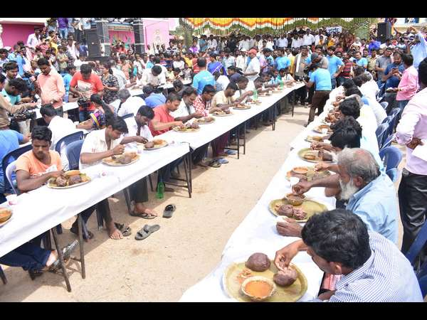 Meese Ire Gowda wins in Ragi mudde eating compition in Mandya