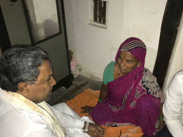 Siddaramaiah gave 50000 rupees to a farmer family in Badami