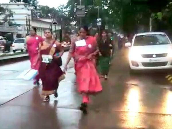 Womens walking with wearing sarees in Mangalore
