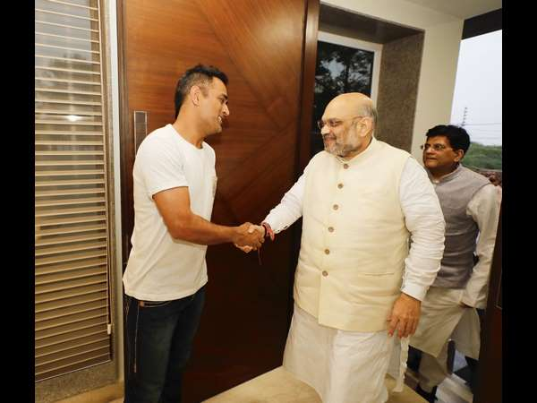 BJP president Amit Shah meets MS Dhoni