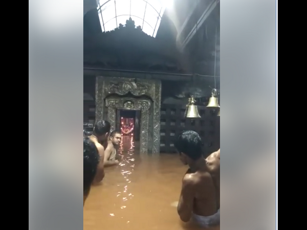 River water entering into Durga Parameshwari garbhagudi every year in Kamalashile temple