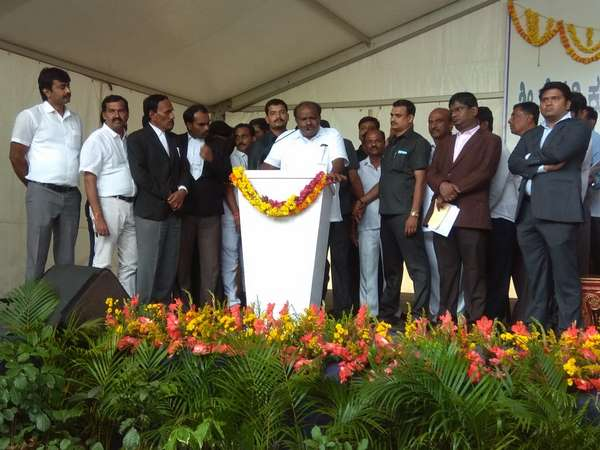 Chief Minister HD Kumaraswamy toured throughout the day at Ramanagara