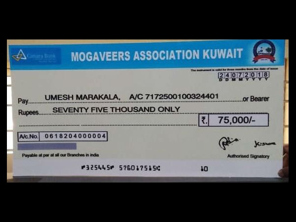Mogaveers Association Kuwait donates for cancer treatment of a girl