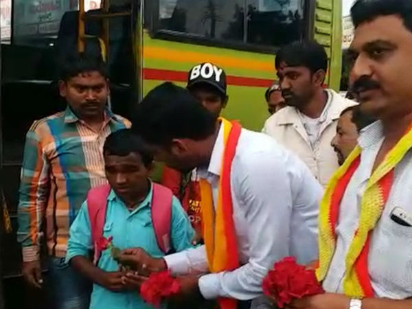 Flower was distributed by Kannada organizations in belgaum