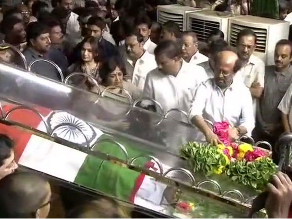Tamilnadu CM Palaniswamy, actor Rajinikanth pay last respects to Karunanidhi