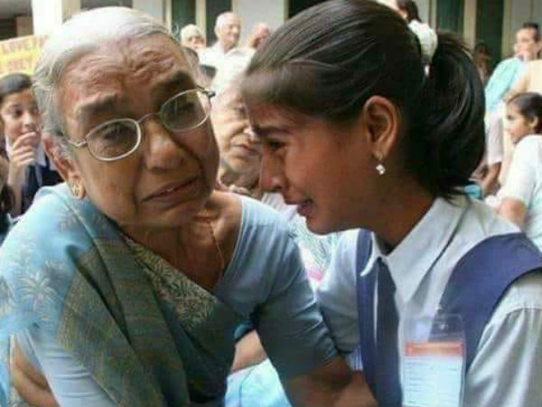 school girl found her grandmother in old age home