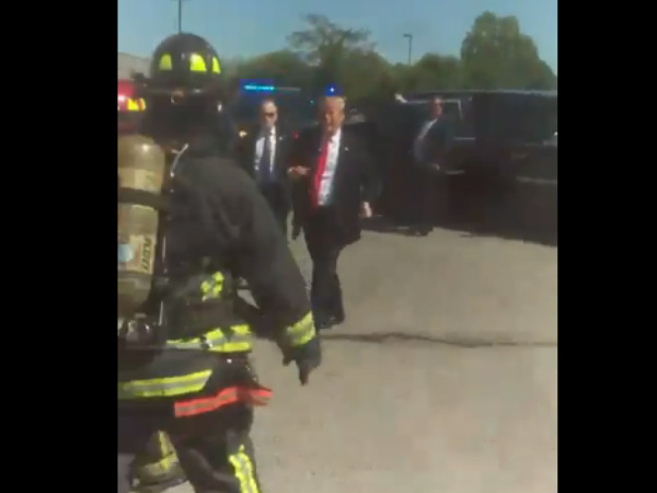 Donald Trump stops car to meet fire fighters