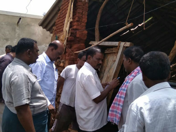 Effect of heavy rainfall in Hanur wall of farmers house collapsed