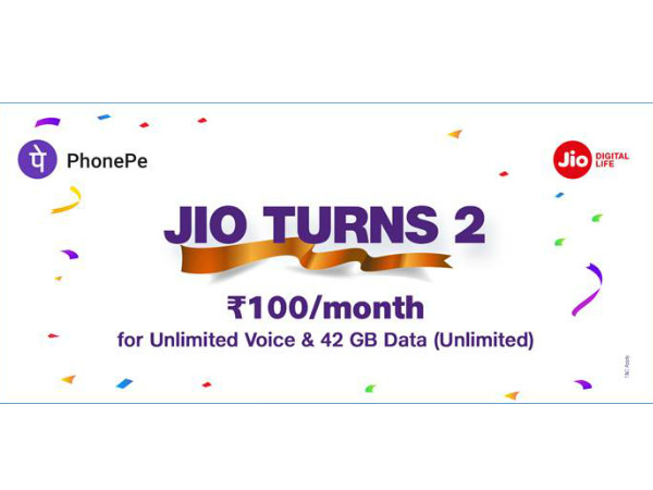 Jio 2nd Anniversary : Jio Offers Rs. 50 Cashback on Recharges
