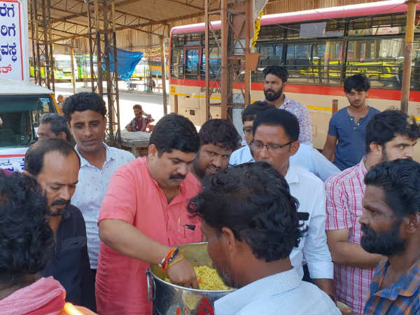 Food distributed in KSRTC and Private Bus stand by MLA Vedavyas Kamath