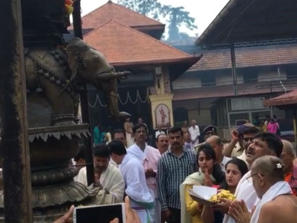 Minister D K Shivakumar visited Kolluru temple with family