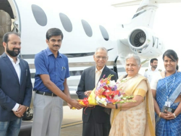 Sudha Narayan Murthy arrived to Mysore today