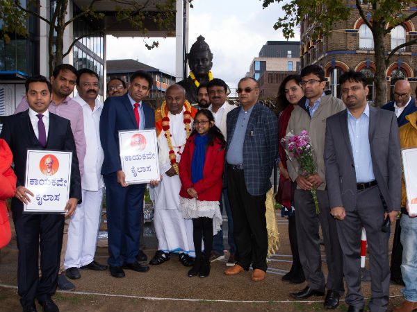 Tribute to Basaveshwara statue in London by HD Deve Gowda