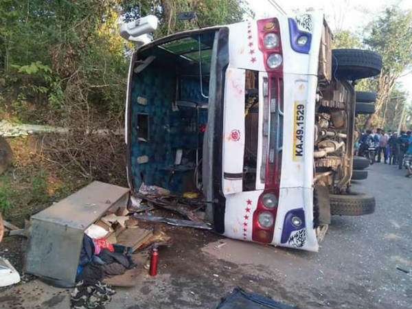 Girl dies as bus over turned near NR Pura