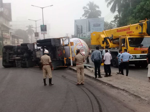 LPG tanker rolls over at Nanthur Junction